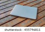 modern silver closed laptop on... | Shutterstock . vector #455796811