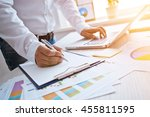 young businessman working  in... | Shutterstock . vector #455811595