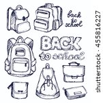 hand drawn vector set of sketch ... | Shutterstock .eps vector #455816227