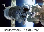 astronaut in outer space.... | Shutterstock . vector #455832964