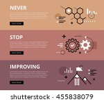 flat line web banners of... | Shutterstock .eps vector #455838079