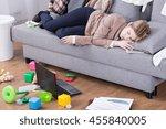 young mother sleeping in her... | Shutterstock . vector #455840005
