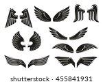 black heraldic wings set in... | Shutterstock .eps vector #455841931