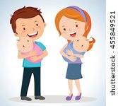 happy parents with twin babies. ... | Shutterstock .eps vector #455849521