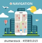 phone with mobile gps... | Shutterstock .eps vector #455851315