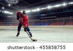 woman play hockey   . mixed... | Shutterstock . vector #455858755