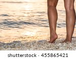 stepping into the sunset sea | Shutterstock . vector #455865421