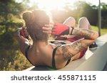 sport girl rocking the press... | Shutterstock . vector #455871115