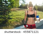 sports girl have rest after... | Shutterstock . vector #455871121