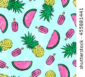 tropical summer print for t... | Shutterstock .eps vector #455881441