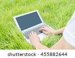 asian woman lied on grass floor ... | Shutterstock . vector #455882644