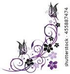 summer flowers with butterflies ... | Shutterstock .eps vector #455887474