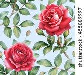 watercolor rose flowers... | Shutterstock . vector #455889997