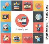 celebration and birthday icons... | Shutterstock .eps vector #455891557