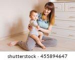 portrait of happy mother and... | Shutterstock . vector #455894647