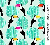 toucan seamless pattern. retro... | Shutterstock .eps vector #455901244
