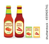 tomato ketchup and chili sauce | Shutterstock .eps vector #455905741