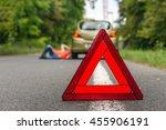 driver lying under the broken...   Shutterstock . vector #455906191
