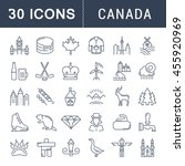set vector line icons in flat... | Shutterstock .eps vector #455920969