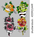 traditional tattoo flowers set... | Shutterstock .eps vector #455921449