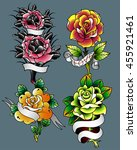traditional tattoo flowers set... | Shutterstock .eps vector #455921461