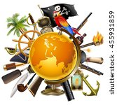 vector pirate globe concept | Shutterstock .eps vector #455931859