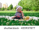 a little boy is sitting in the... | Shutterstock . vector #455937877