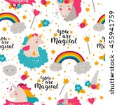 background with baby unicorn.... | Shutterstock . vector #455941759