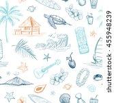 hawaii collection of vector...   Shutterstock .eps vector #455948239