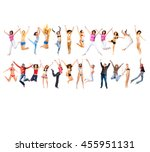 people celebrating team... | Shutterstock . vector #455951131