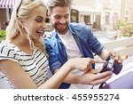 having fun while browsing some... | Shutterstock . vector #455955274
