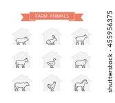 line set of farm animals.... | Shutterstock . vector #455956375