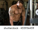 big man in the gym is... | Shutterstock . vector #455956459