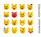cat emoji. cat emoticons. cat... | Shutterstock .eps vector #455974021