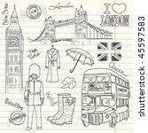 london doodles in the sketch... | Shutterstock .eps vector #45597583