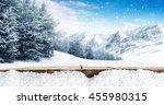 winter blue landscape of alps... | Shutterstock . vector #455980315