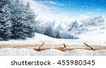 winter blue landscape of alps... | Shutterstock . vector #455980345