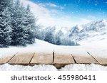winter blue landscape of alps... | Shutterstock . vector #455980411