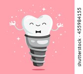 happy healthy tooth implant.... | Shutterstock .eps vector #455984155