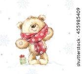 Cute Teddy Bear With The Gift ...