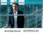 portrait of a handsome elegant... | Shutterstock . vector #455994154