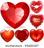 vector set of red hearts | Shutterstock .eps vector #45600187