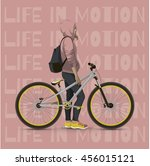 girl with bicycle. color... | Shutterstock .eps vector #456015121