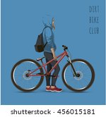 the girl on the mtb bike. with... | Shutterstock .eps vector #456015181