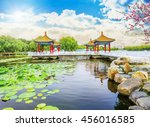 beautiful garden  pavilions and ... | Shutterstock . vector #456016585