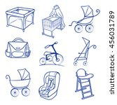 baby car seat  pram  bag ...   Shutterstock .eps vector #456031789