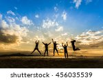 business team people jumping... | Shutterstock . vector #456035539