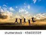 business team people jumping... | Shutterstock . vector #456035539