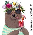 cute summer cartoon bear | Shutterstock . vector #456042175