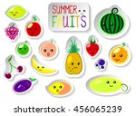 set of summer fruits in flat...